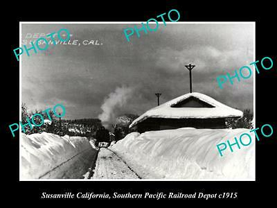 OLD LARGE HISTORIC PHOTO OF SUSANVILLE CALIFORNIA, RAILROAD DEPOT STATION c1915