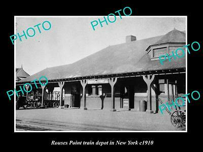 OLD LARGE HISTORIC PHOTO OF ROUSES POINT NEW YORK, RAILROAD DEPOT STATION c1910