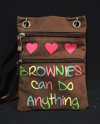 Girls Scout Brownie Bag Brownies Can Do Anything Glitter Hearts Cross Body Purse
