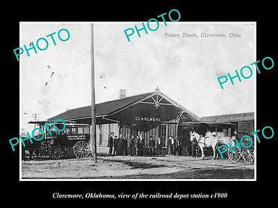 OLD LARGE HISTORIC PHOTO OF CLAREMORE OKLAHOMA, THE RAILROAD DEPOT STATION c1900