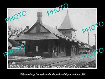 OLD LARGE HISTORIC PHOTO OF SHIPPENSBURG PENNSYLVANIA, RAILROAD STATION c1930