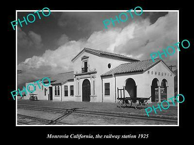 OLD LARGE HISTORIC PHOTO OF MONROVIA CALIFORNIA, THE RAILWAY STATION c1925