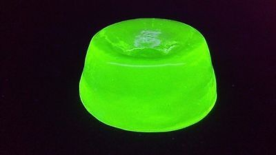 "Green Vaseline Glass ""trish's Treasures"" Marble & Paperweight Holder Glows Uv!"