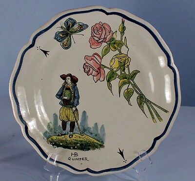 Antique QUIMPER French Faience Plate Desirable Pattern: Breton Man + Botanical