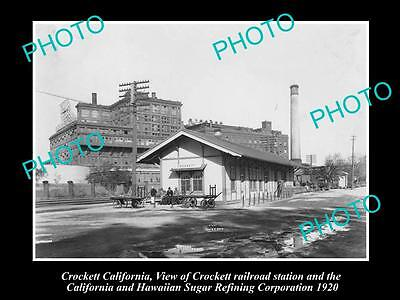 OLD LARGE HISTORIC PHOTO OF CROCKETT CALIFORNIA, VIEW OF RAILWAY STATION c1920