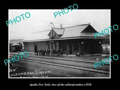 OLD LARGE HISTORIC PHOTO OF APULIA NEW YORK, THE RAILROAD DEPOT STATION c1910