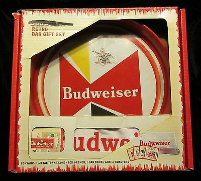 Budweiser Retro Bar Gift Set 2008 New In Box Tray Coasters Towel Opener Included