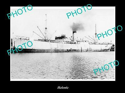 OLD LARGE HISTORIC MERCHANT SHIP PHOTO OF THE STEAMSHIP SS HELENIC c1920s