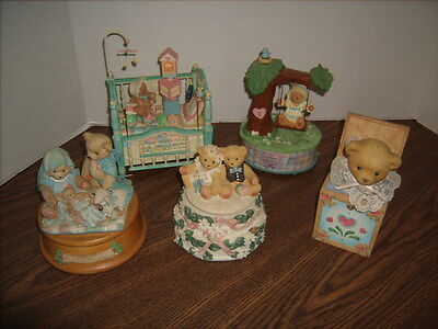 5 Enesco Cherished Teddies Music Boxes- Most with Motion - Excellent Shape