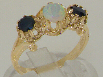 Solid 9ct Yellow Gold Natural Opal & Sapphire Ladies Trilogy Band Ring