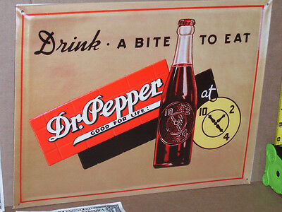 DR. PEPPER Drink A Bite To Eat - Shows BOTTLE - OLD SIGN Dated1998 - GAS STATION