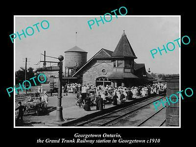 OLD LARGE HISTORIC PHOTO OF GEORGETOWN ONTARIO, CANADA, RAILWAY STATION c1910