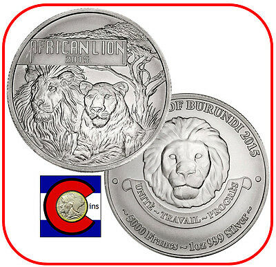 2015 Burundi African Lion 1oz 0.999 Silver - 5000 Francs - in airtite