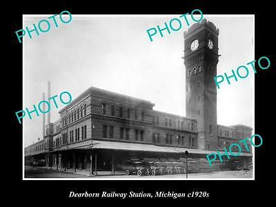 OLD LARGE HISTORIC PHOTO DEARBORN RAILWAY STATION, MICHIGAN c1920s