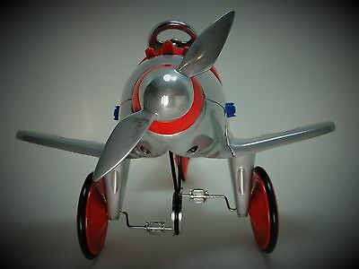 Air plane Pedal Car WW2 Vintage Silver Body Aircraft Mustang Midget Metal Model