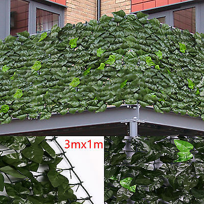 Artificial Ivy Leaf Hedge Panels On Roll Garden Fence Privacy Screening 1m x 3m