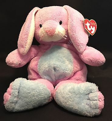 "Ty Pluffies Twitchy The Bunny Rabbit 9"" Plush TyLux 2003 Pink Blue"