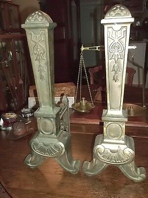Antique Arts Crafts/empire Fireplace Andirons, Fire Dogs