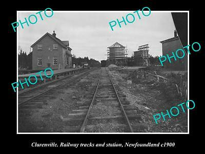 OLD LARGE HISTORIC PHOTO OF CLANRENVILLE RAILWAY STATION, NEWFOUNDLAND c1900