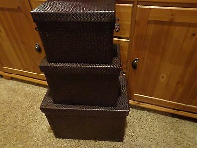 Set of 3 Stackable Nesting Storage or Decorative Boxes Rectangular