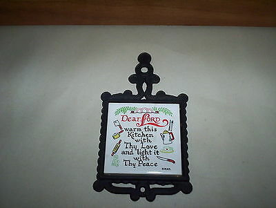 """Vintage """"Dear Lord Warm This Kitchen"""" Cast Iron Metal Trivet Made in Japan"""