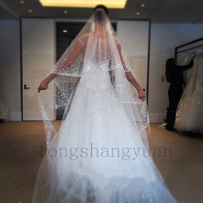 Luxury Crystals Wedding Veils 2T White Ivory Bridal Veil Cathedral Length + Comb