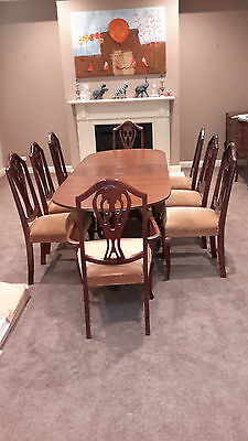 ANTIQUE VINTAGE PROVINCIAL  style 9 PCE DINING SUITE extendable table & 8 chairs