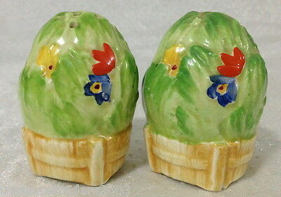 ♡ SALT & PEPPER SHAKERS 1930s RAISED GREEN & FLORAL LETTUCE CLARICE CLIFF ?