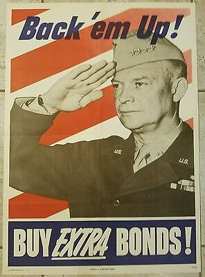 WWII WW2 War Bond Poster - Back Em Up - Dwight Eisenhower- 1944