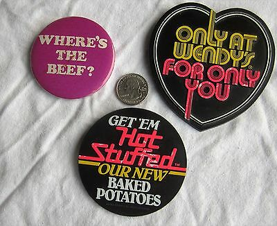"""3 Vintage Wendy's Restaurant Slogan Employee Pins / Buttons """"Where's the Beef"""""""