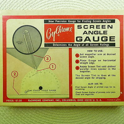Vintage ByChrome Company Inc. ~ Screen Angle Gauge in Box w/ Instructions