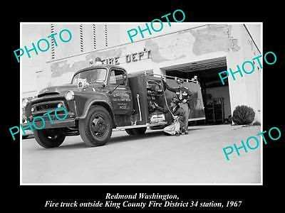 Old Large Historic Photo Of Redmond Washington, The Fire Department Station 1967