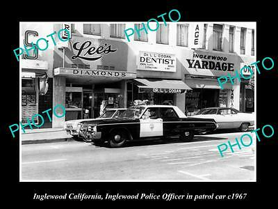 OLD LARGE HISTORIC PHOTO OF INGLEWOOD CALIFORNIA, THE POLCE PATROL CAR c1967