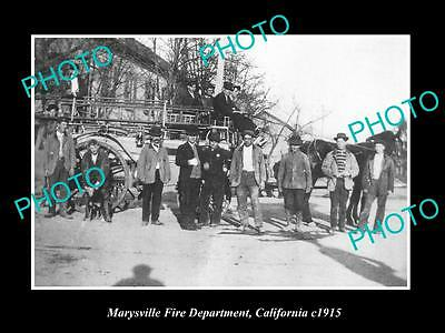 Old Large Historic Photo Of Marysville California, The Fire Department Crew 1915