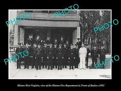 OLD LARGE HISTORIC PHOTO OF HINTON WEST VIRGINIA, THE FIRE DEPARTMENT c1945