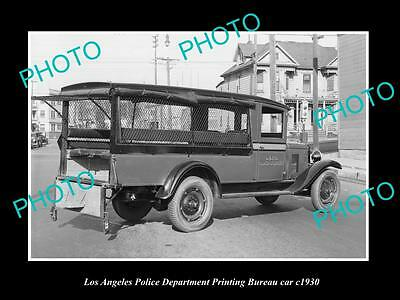 OLD LARGE HISTORIC PHOTO OF LOS ANGELES POLICE DEPARTMENT P/B CAR c1930, LAPD