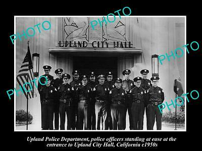 OLD LARGE HISTORIC PHOTO OF UPLAND CALIFORNIA, POLICE DEPARTMENT STATION c1950s