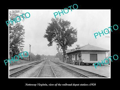 OLD LARGE HISTORIC PHOTO OF NOTTOWAY VIRGINIA, THE RAILROAD DEPOT STATION c1920
