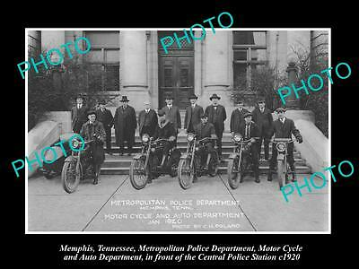 OLD LARGE HISTORIC PHOTO OF MEMPHIS TENNESSEE, THE POLICE MOTORCYCLE SQUAD c1920