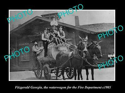 Old Large Historic Photo Of Fitzgerald Georgia, Fire Department Water Wagon 1905