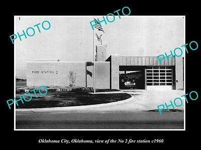 OLD LARGE HISTORIC PHOTO OF OKLAHOMA CITY No 2 FIRE DEPARTMENT STATION c1960