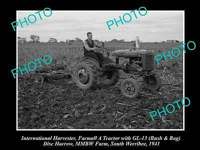 Old Historic Photo Of International Harvester & Farmall A Tractor Gl-13 Harrow