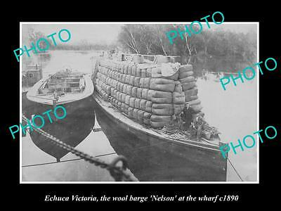 OLD LARGE HISTORIC PHOTO OF ECHUCA VICTORIA THE NELSON WOOL BARGE AT WHARF c1890