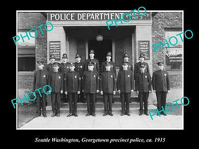 Old Large Historic Photo Of Seattle Usa, Georgetown Police Precinct Team 1915