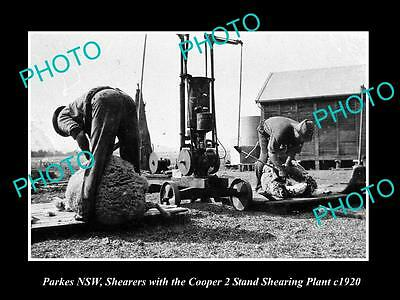 Old Large Historic Photo Of Parkes Nsw, Cooper 2 Stand Wool Shearing Plant 1920