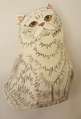 MINT Cats By Nina Lyman White Persian Cat Ceramic Vase / Planter Retired Signed