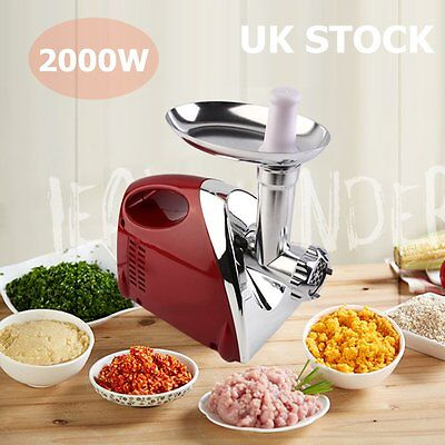 2000W Kitchen Steel Electric Meat Mincer Grinder Sausage Maker Filler Red