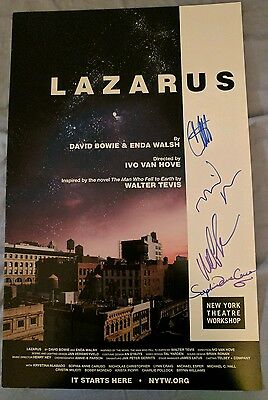 SIGNED Lazarus poster NY Theater Workshop Bowie Michael C Hall window card NYTW