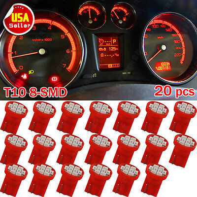20X Pure Red T10 Wedge W5W 2825 192 168 906 8SMD LED Dash Gauge Instrument Light