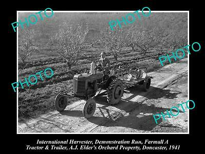 Old Historic Photo Of International Harvester & Farmall A Tractor Demo 1941